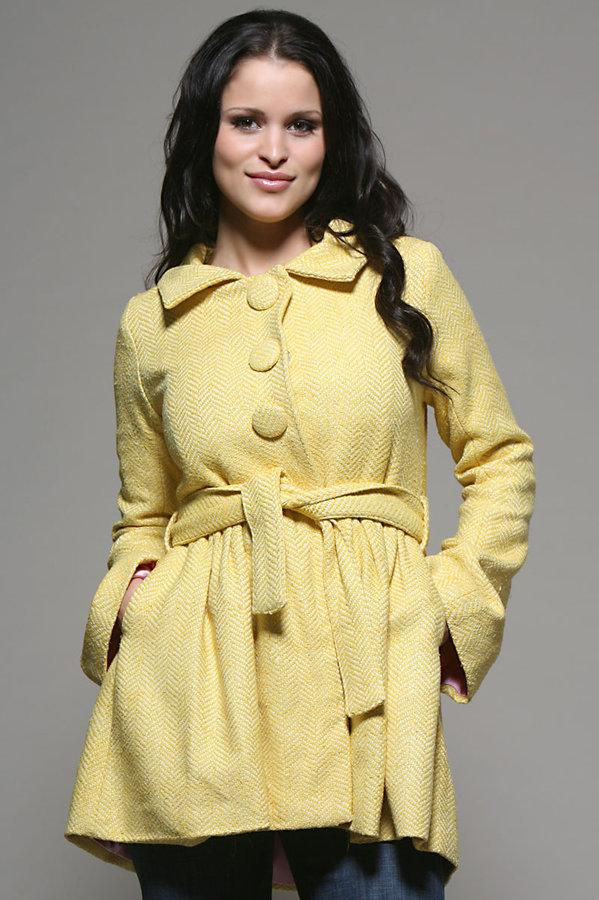 Kushcush Three Button Coat in Yellow