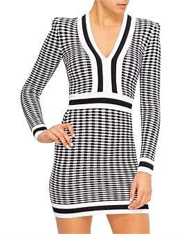 Balmain Short Ls V-Neck Houndstooth Stripe Dress