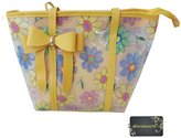 Donalworld Women Summer Clear Transparent Floral Tote Satchel Candy Beach Handbags
