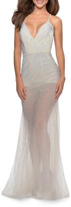 La Femme Rhinestone Embellished Sheer Romper Style Gown