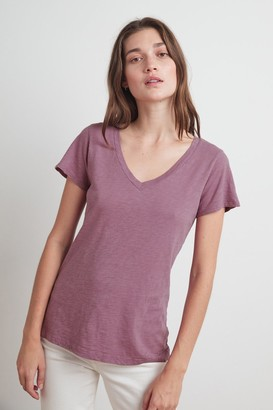 Velvet by Graham & Spencer Lilith Cotton Slub V-Neck Tee