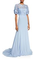 Lela Rose Guipure-Lace Bodice Gown