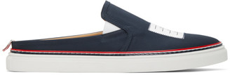 Thom Browne Navy 4-Bar Slip-on Loafers