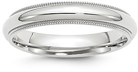 Bloomingdale's Men's 4mm Milgrain Comfort Fit Band in 14K White Gold - 100% Exclusive
