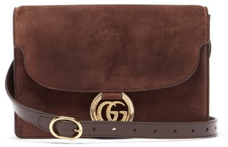 Gucci GG-ring Small Suede Shoulder Bag - Womens - Brown