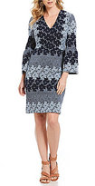 Maggy London V-Neck Flower Jacquard Sheath Dress