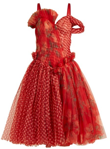 Alexander McQueen Pleated Floral Print And Checked Organza Dress - Womens - Red Multi