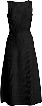 Alaia Pagode Pintuck Cut-Out Back A-Line Midi Dress