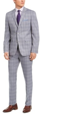 Perry Ellis Men's Slim-Fit Stretch Light Gray Plaid Suit