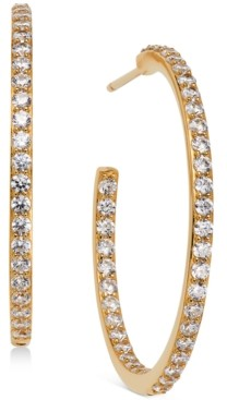 AVA NADRI Medium Cubic Zirconia In & Out Hoop Earrings, 1.125""