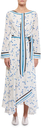 Roland Mouret Fernandina Tie-Neck Printed Handkerchief Dress