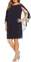 Jessica Howard Plus Beaded-Shoulder Capelet Dress