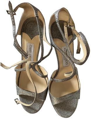 Jimmy Choo Lucy Silver Glitter Sandals