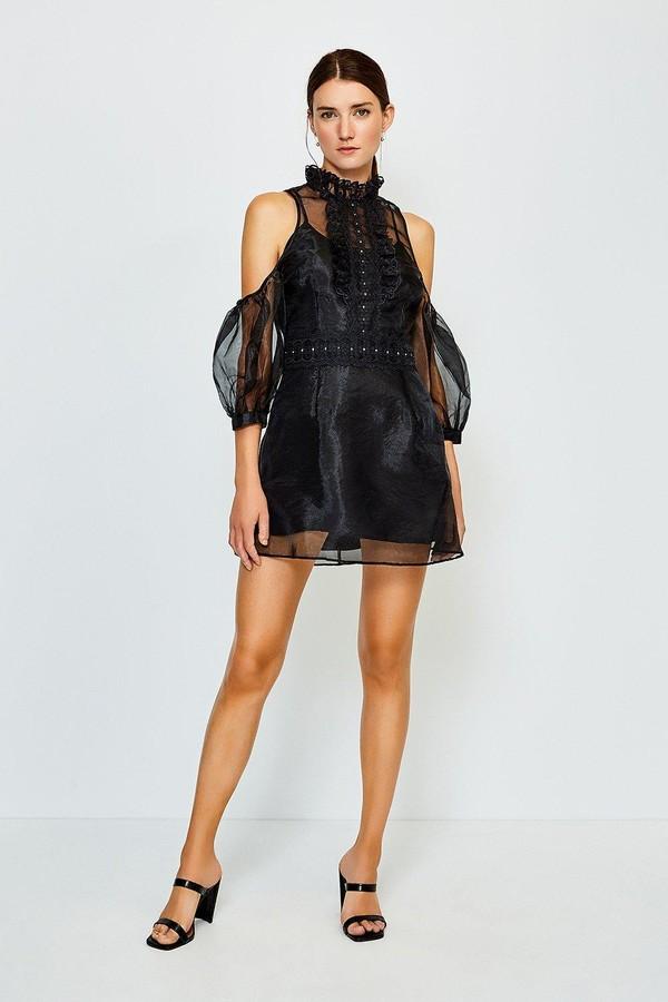 Karen Millen Organza Lace Cold Shoulder Dress