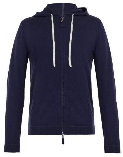 Allude Zip Up Wool Blend Hooded Sweater - Mens - Navy