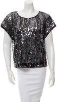 Rachel Zoe Sequined Cap Sleeve Blouse