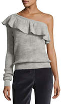 Rebecca Taylor One-Shoulder Alpaca Knit Pullover Sweater
