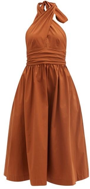 STAUD Moana Keyhole Halter-neck Cotton-blend Dress - Light Brown