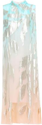 Peter Pilotto Layered Metallic Fil Coupe Silk-blend Midi Dress