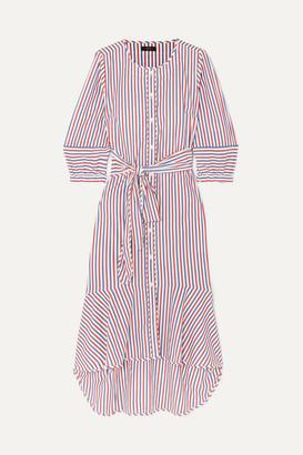 J.Crew Gabriola Ruffled Striped Cotton-poplin Midi Dress - Red
