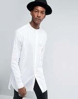 AllSaints Shirt in Longline Fit With Grandad Collar