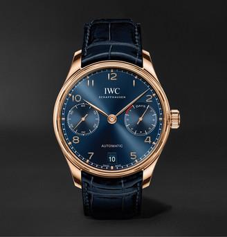 IWC SCHAFFHAUSEN Portugieser Automatic Boutique Edition 42.3mm 18-Karat Gold And Alligator Watch, Ref. No. Iw500713