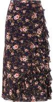 Rochas floral asymmetric ruffle skirt