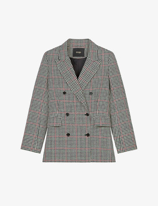 Maje Voldita checked double-breasted wool-blend blazer