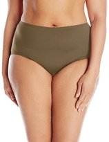 Anne Cole Women's Plus-Size Colorblast High-Waist Tummy-Control Bikini Bottom