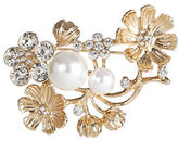 Expression Floral and Faux Pearl Brooch