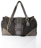 Gianfranco Ferre Brown Coated Canvas Leather Structured Extra Large Shoulder Bag