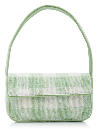 STAUD Tommy Beaded Gingham Clutch