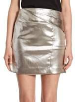Halston Faux Wrap Draped Mini Skirt