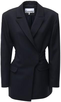 Ganni Wool Blend Suit Blazer