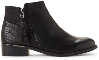 Wanted Black Amaretto Embossed Ankle Boots