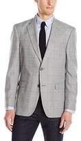 Tommy Hilfiger Men's Two Button Windowpane Sport Coat, Light Grey