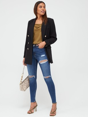 Very Ella Thigh High Rip Skinny Jeans - Mid Wash