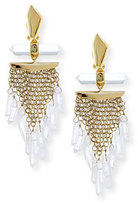 Alexis Bittar Mesh Wire Clip Earrings with Dangling Rock Crystals