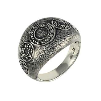 N. Esse Marcasite Sterling Silver Grey Enamelled Chunky Dome Ring with Circular Marcasite Detail- Size