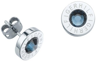 Tommy Hilfiger Stainless Steel and Blue Stone Logo Earrings