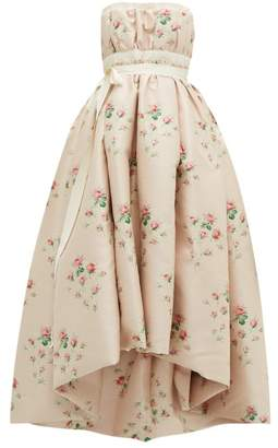 Brock Collection Grosgrain Trim Floral Cloque Gown - Womens - Pink Multi