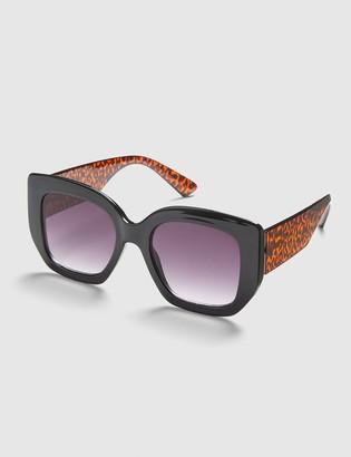 Lane Bryant Black & Leopard Print Square Sunglasses