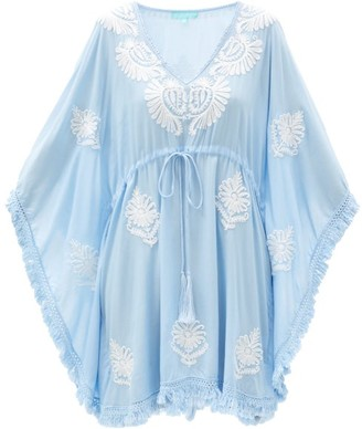Melissa Odabash Irene Floral-embroidered Cotton Kaftan - Blue White
