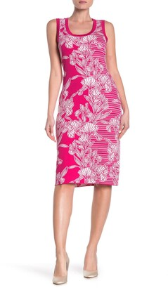 Nina Leonard Sleeveless Tropical Floral Dress