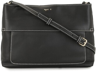 agnès b. Logo-Print Leather Cross Body Bag