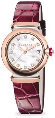 Bvlgari LVCEA Diamond, Mother-Of-Pearl & Burgundy Alligator Strap Watch