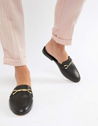 Asos Design DESIGN Moves leather mule loafers in black