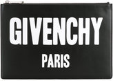 Givenchy logo print clutch - women - Leather - One Size