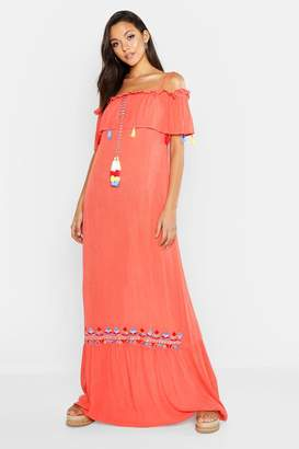 boohoo Tall Bohemian Embroidered Maxi Dress