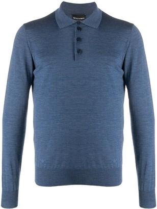 Emporio Armani Long Sleeve Wool-Knit Polo Shirt